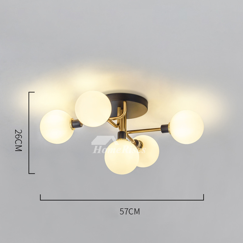 Nordic New Magic Bean Chandelier Glass Ball Ceiling Light 5 Modern Creative Dining Room Black Gold