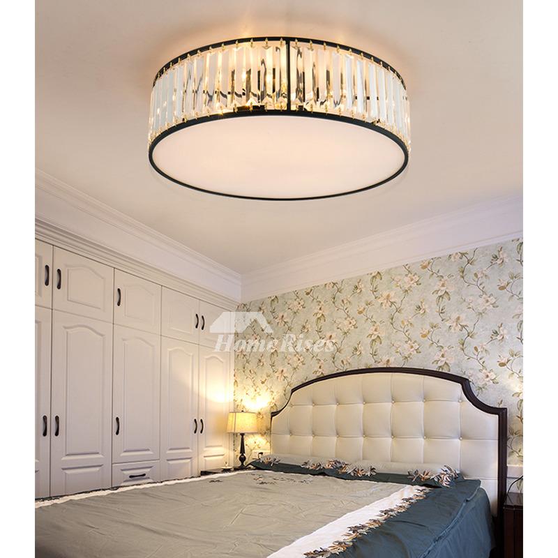 Round Art Deco Ceiling Light Fixtures Crystal Flush Mount ...