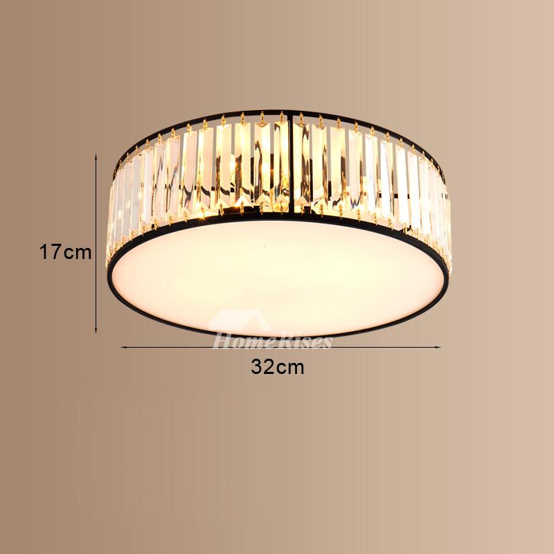 Round Art Deco Ceiling Light Fixtures Crystal Flush Mount Modern Black Gold Dinning Room For Sale