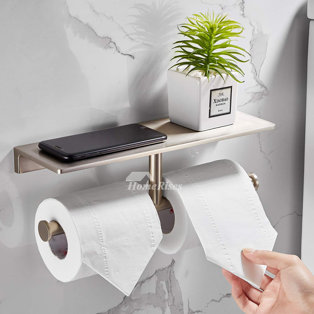 Double Brushed Nickel Toilet Paper Holder Brass Wall