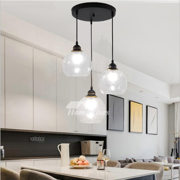 Industrial Pendant Lighting Clear Glass 3 Light Kitchen Crystal Foyer  Modern Black/ Gold Chassis Fish Line Chandelier
