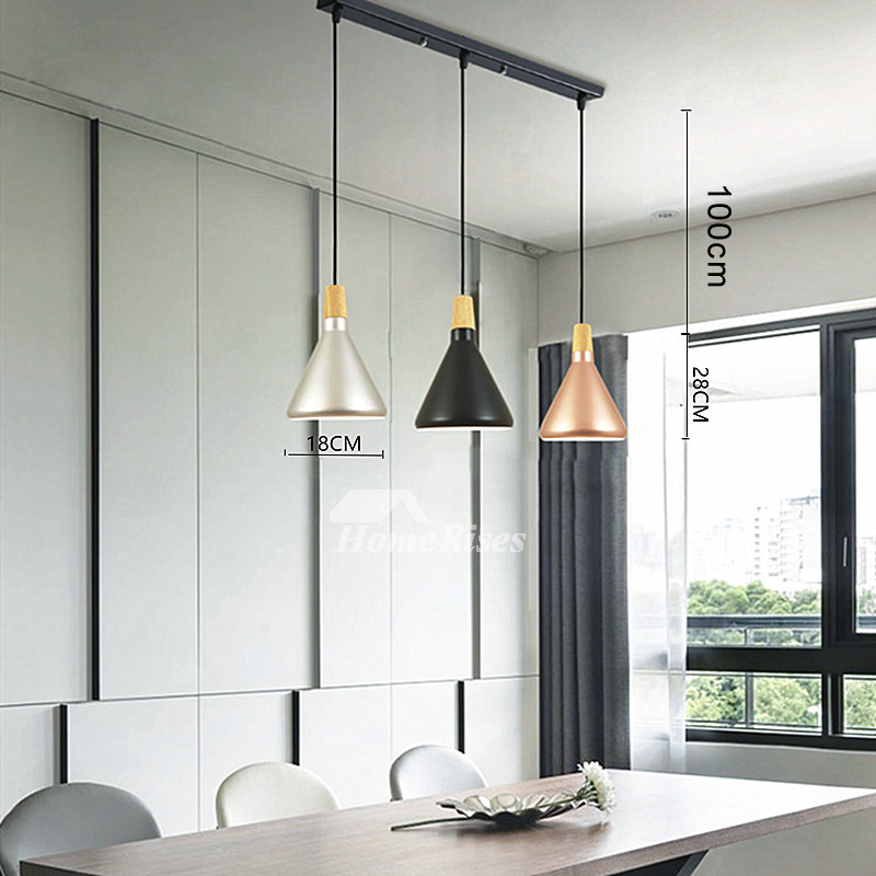 Industrial Pendant Lighting Bar Counter 3 Light Kitchen Foyer Modern Black Chassis Fish Line Chandelier
