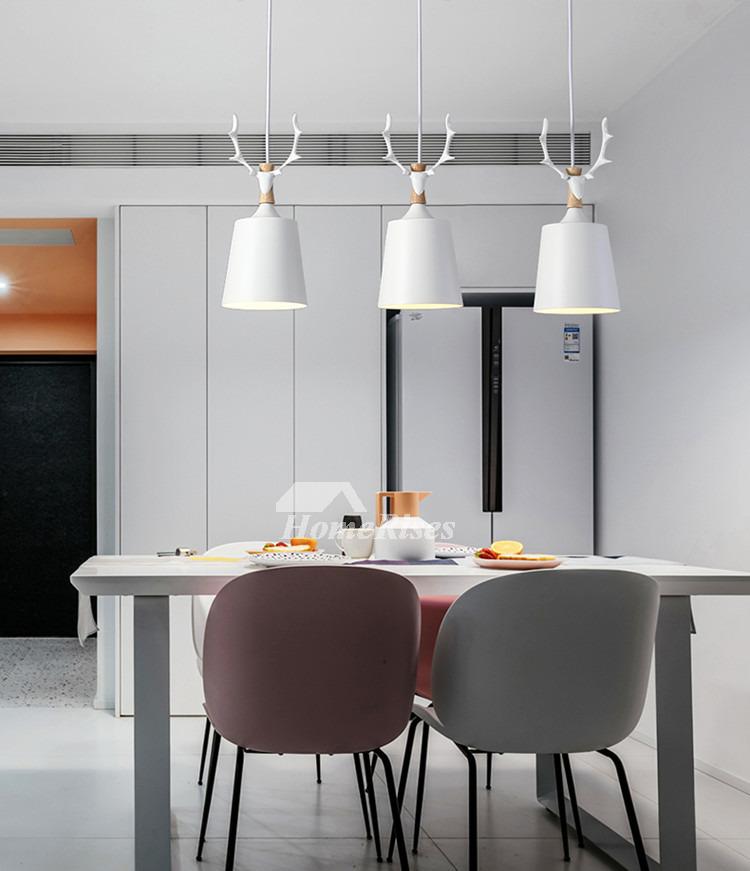 Deer Antlers Pendant Lighting 3 Light Kitchen Foyer Modern Black/ White  Chassis Fish Line Chandelier Industrial