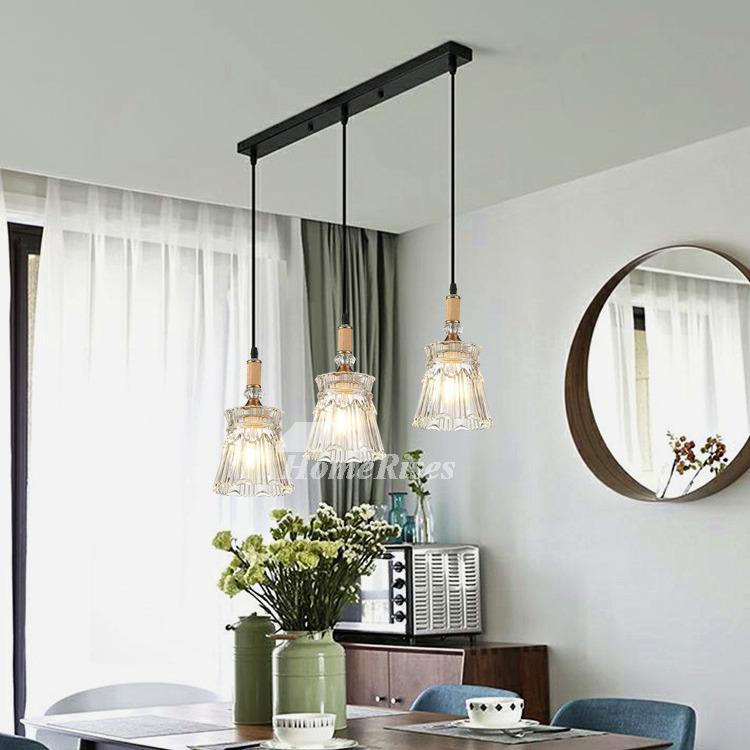 Pendant Lighting 3 Light Kitchen Foyer Glass Modern Black/ White Chassis  Fish Line Chandelier Industrial Crystal