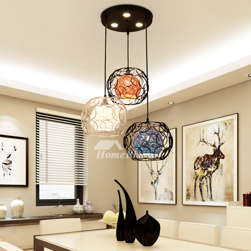 Wrought Iron Pendant Lighting 3 Light Industrial Kitchen Foyer Modern Black  Chassis Fish Line Chandelier