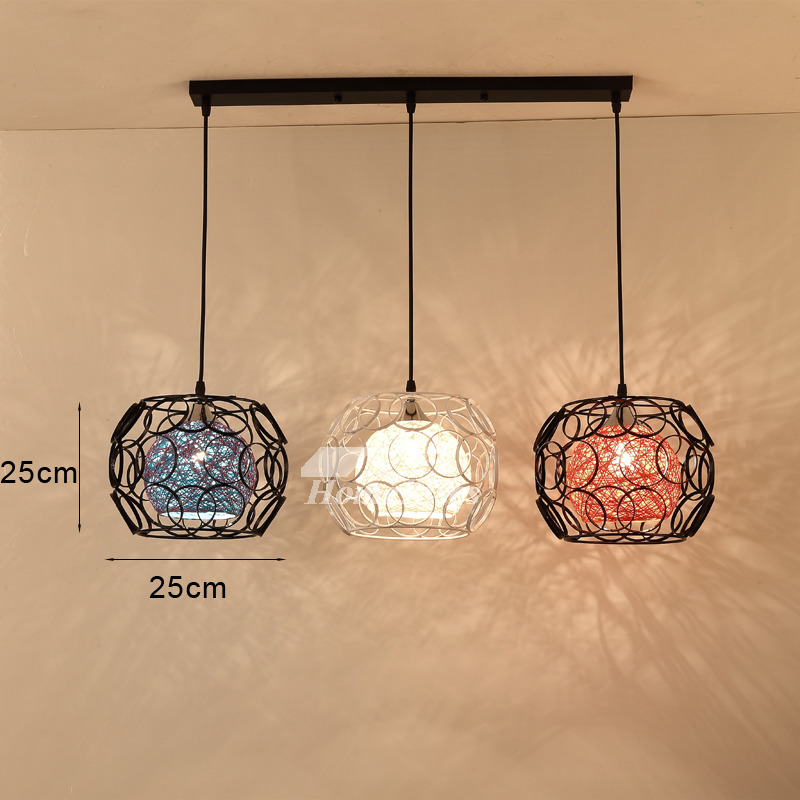 Wrought Iron Pendant Lighting 3 Light Kitchen Foyer Modern Black Chis Fish Line Chandelier