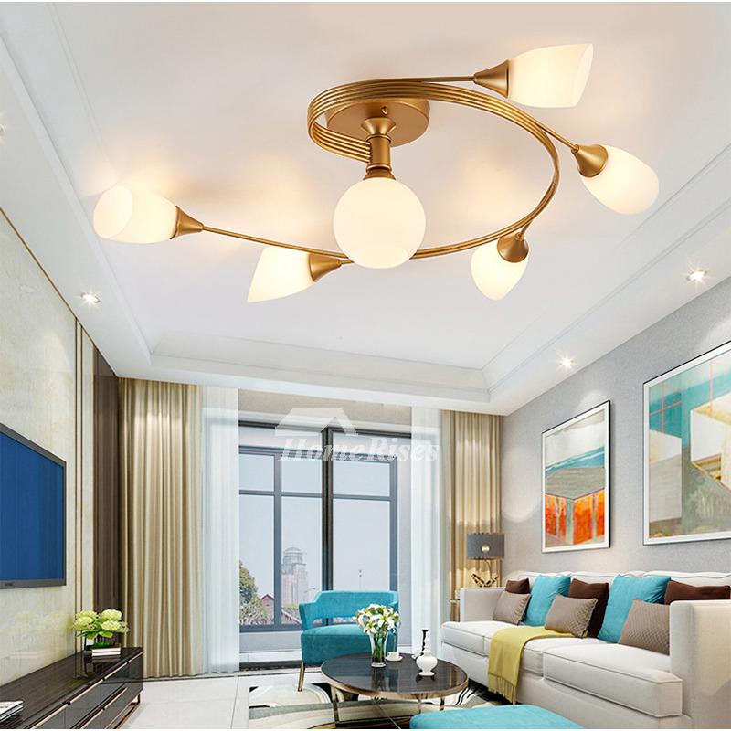 gold/ yellow ceiling light ideas 4/ 6 lights bedroom