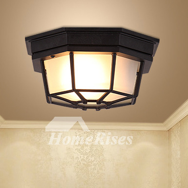 Industrial Ceiling Light Fixtures Retro Wrought Iron Country Style Kitchen Balcony Black Corridor Lights