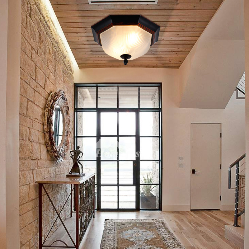 Flush Mount Ceiling Lights For Hallway Industrial Vintage Antique Kitchen Glass Shade Outdoor Wrought Iron
