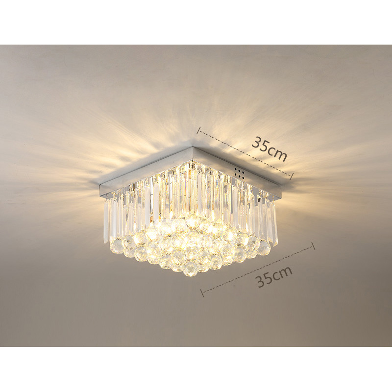 Ceiling Crystal Lights Flush Mount Hallway Round Square Decorative Dropped Foyer Modern Bedroom