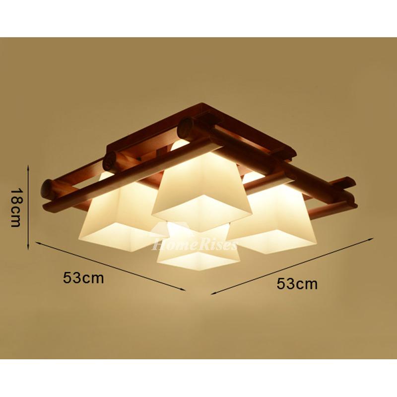 Solid Wood Rectangular Ceiling Light