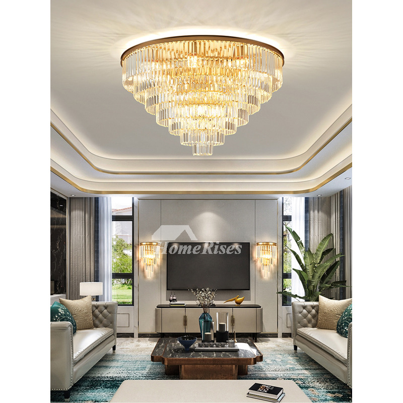 Crystal Pendant Gold Round Contemporary, Contemporary Living Room Ceiling Lights
