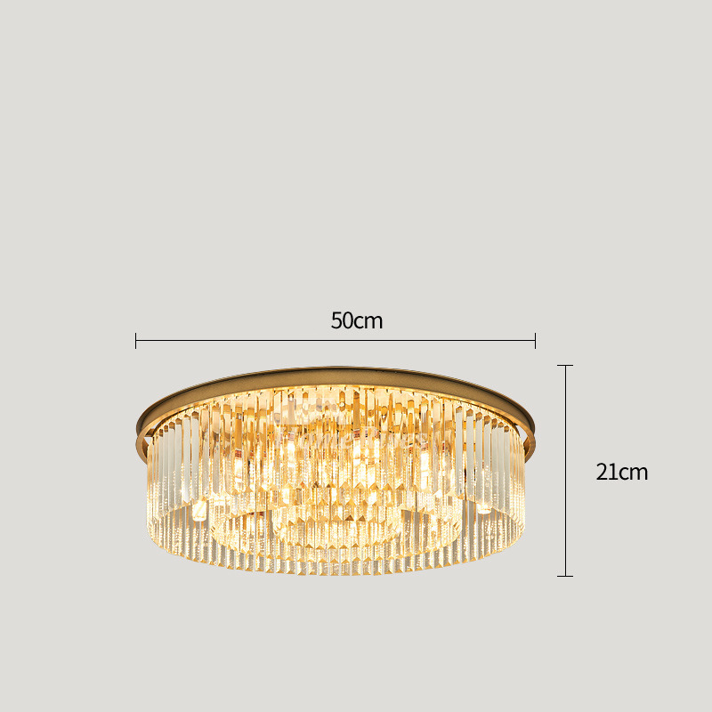 Gold Crystal Ceiling Light Fixtures Luxury Living Room Hall Large Circular Round Twinkle Flush Mount