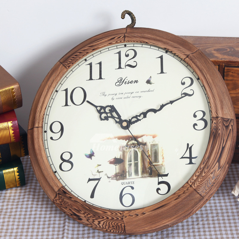 Unique Rustic Decorative Double Sided Og Silent Wall Clock Wooden Used For Living Room Kitchen Outdoor Bathroom