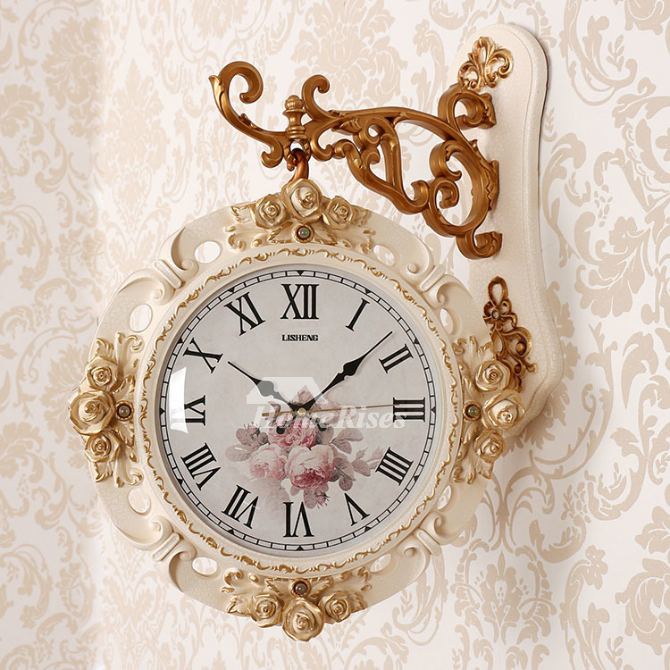 Beautiful Fl Decorative Double Sided Quartz Wall Clock Wooden Silent Used For Home And Outdoor Best Gifts Relatives Friends