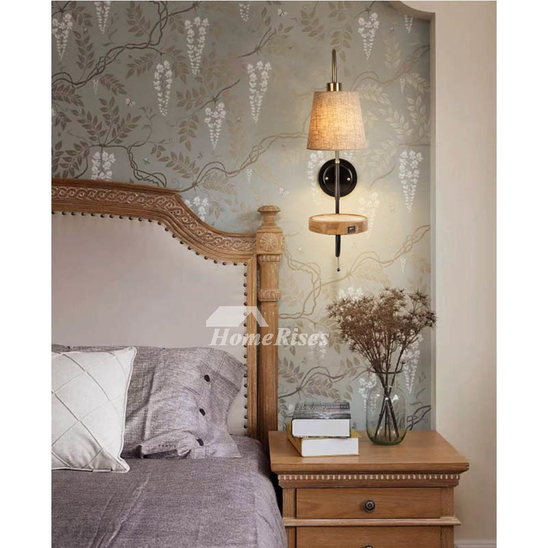 Nordic Wall Lamp Bedroom Reading Room European Wood Wrought Iron With Pull  Chain