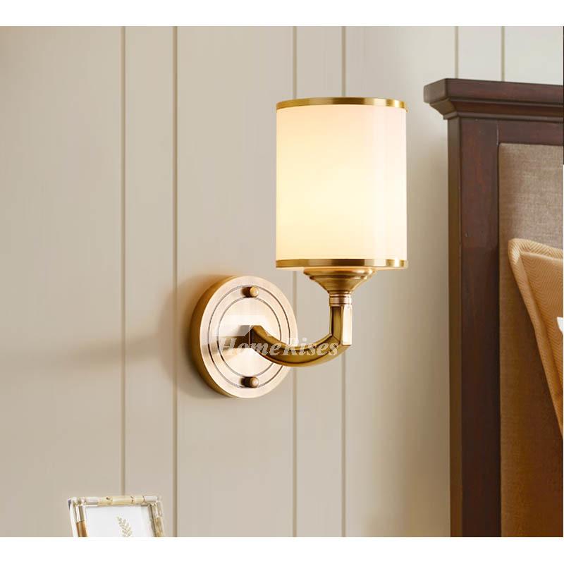 Bedroom Bedside Lamp Copper Study Room Solid Brass Wall Sconces 2 Lights Gold Black Luxury