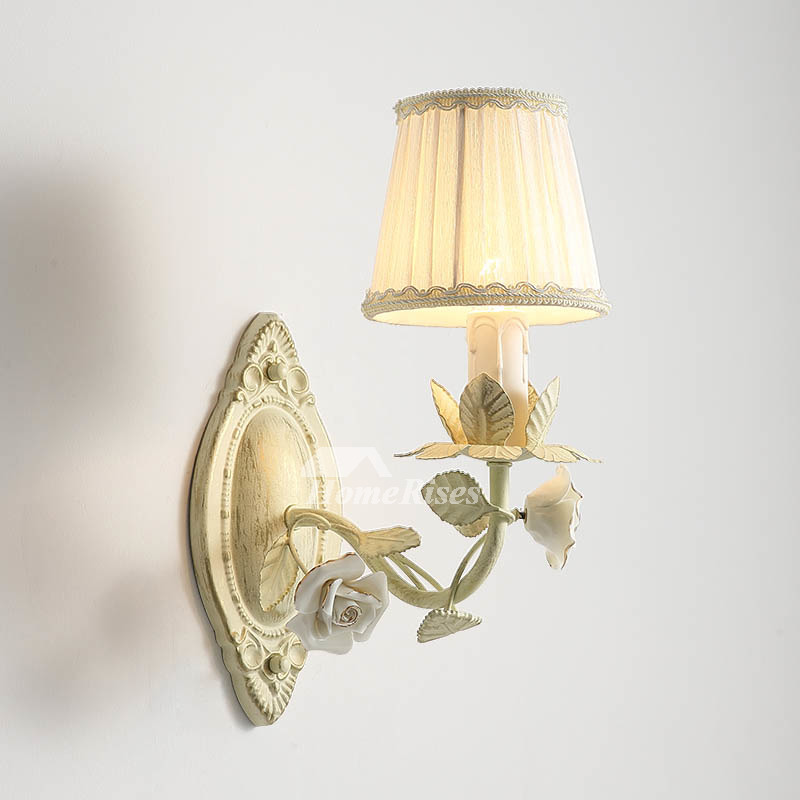 Ceramic Flower Wall Light White Country Style Bedroom Bedside Floral Wall Sconce Fabric Lamp Shade