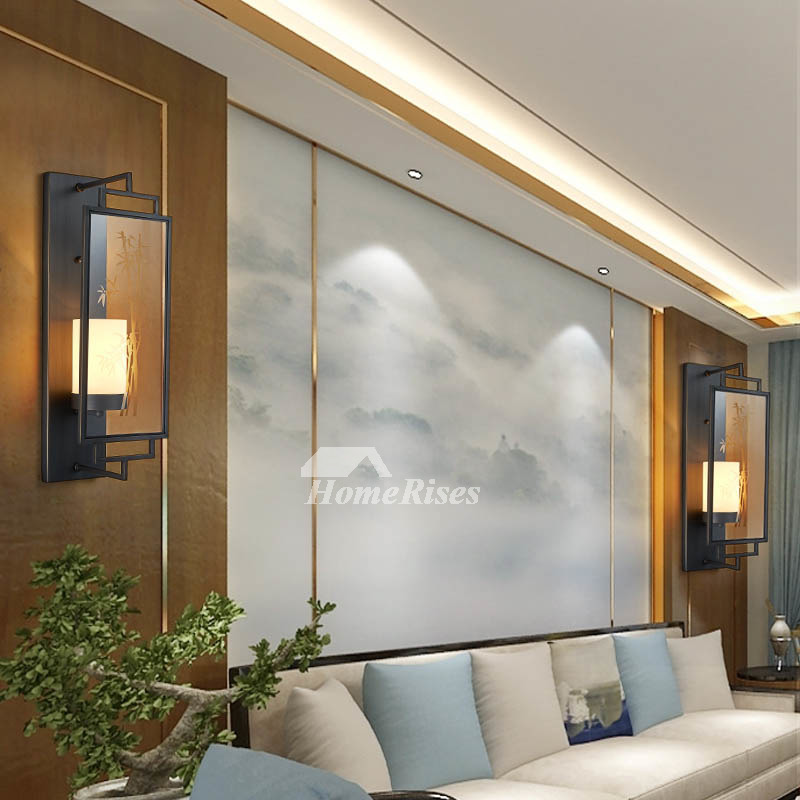 Chinese Style Black Wall Sconces Solid Brass Bamboo Glass Lamp Shade Living Room Wall Lighting