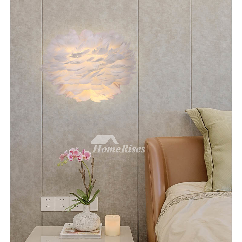 Feather Wall Sconces Bedroom Bedside Lamp Modern Simple Creative Decorative White