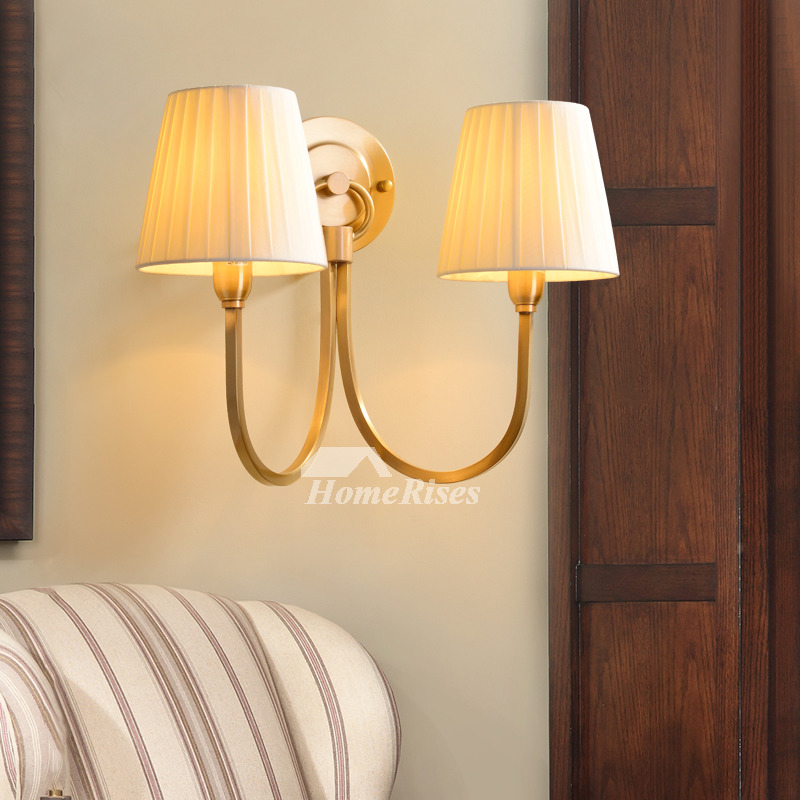 TWO X Retro Industrial Bedside Wall Lamps Linen Type Cloth Shade Double Sconces