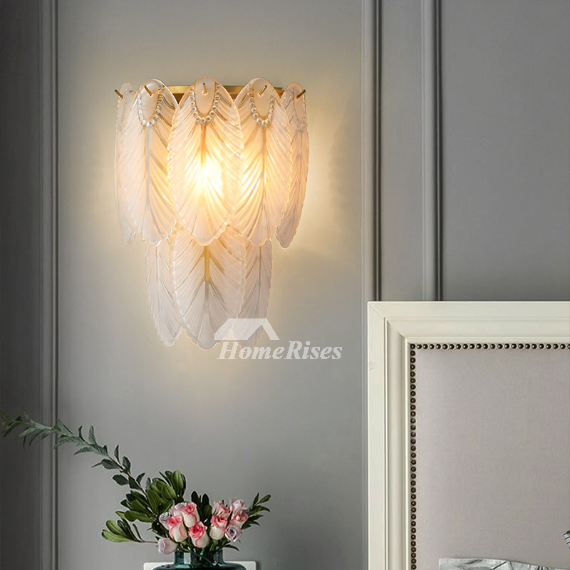 Generation Light Luxury Apartment Living Room Feather Glass Bedroom Indoor Wall Sconce For Girls Room
