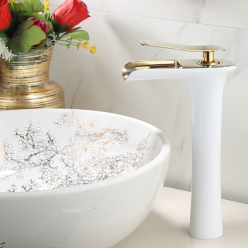 Brass Tall Vessel Sink Faucet Luxury White Black Gold Waterfall Single Handle Modern