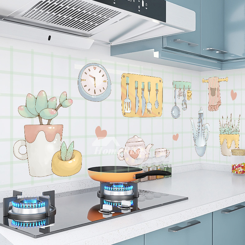 Kitchen Oil Proof Waterproof Wall Decals Cute Cartoon For Home Decor Stickers
