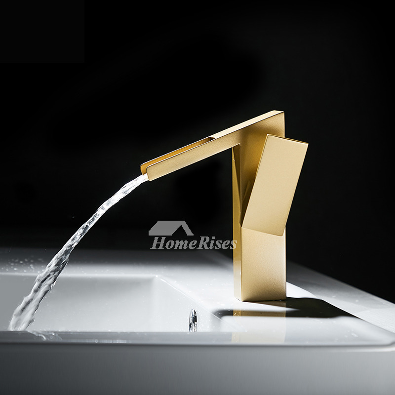 Waterfall Unique Bathroom Sink Faucets Gold Brass Oil Rubbed Bronze Luxury